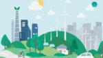 Ilustración de ciudad sostenible con turbinas eólicas